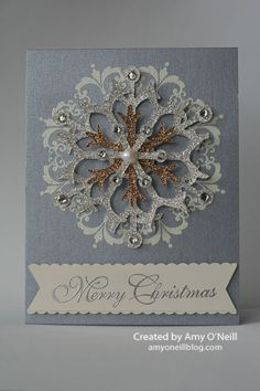 handmade Christmas card ... sparkly and shimmery ... luv the embossed Daydream Medallion as base for snowflake medallion ... snowflake die cut from glitter papers, layered and accented with rhinestones and a pearl ... delightful!! ... Stampin' Up!