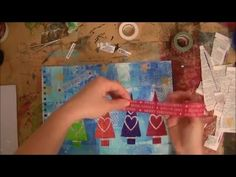 Merry Christmas - Gelli Printing - Watch Daniela Schoch use her 3x5 Gelli plate as a stamp and then assemble a wonderful Holiday mixed media collage!