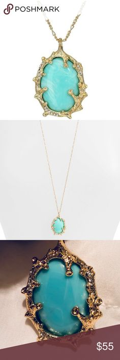 Lilly Pulitzer Coraline Aqua/Gold Pendant Necklace Brand new, never been worn. Still has the plastic protecting the back from getting scratched as seen in pictures. The stone is a beautiful aqua, turquoise, teal color. Has small rhinestone embellishments in the gold. Bought at Dillard's. Please let me know if you have any questions and feel free to make an offer! Lilly Pulitzer Jewelry Necklaces