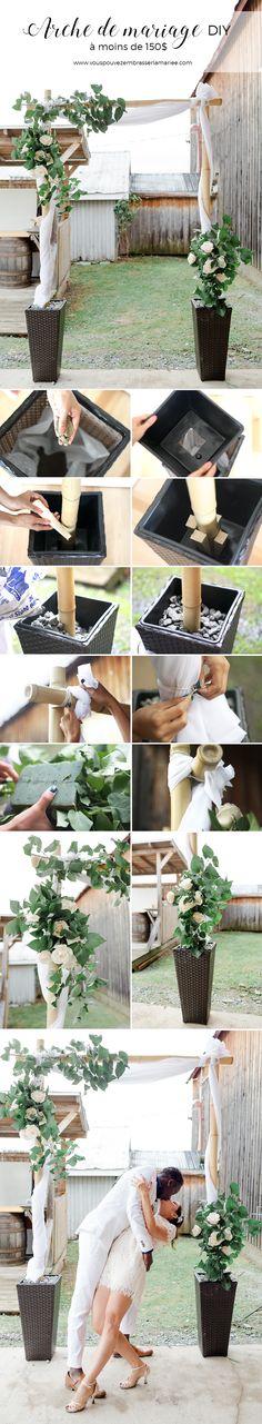 Wow! Un tutoriel super bien expliqué et vraiment joli pour créer sa propre arche de mariage DIY en bamboo, et pour moins de 150$ ! J'adore. Je pense que cela serait superbe pour ma cérémonie !
