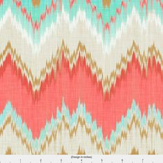 Zigzag Fabric Ikat Chevron In Mint Gold And Coral Pink By