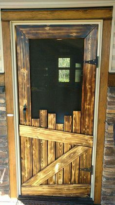 Unique Rustic Door - Irregular offcuts of narrow boards are staggered to create a one-of-a-kind door, solid at the bottom to withstand heavy abuse by pets and screened at the top for visibility and air-flow. | photo from a cached image