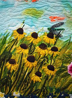 Art Quilt --- very pretty with black-eyed Susans