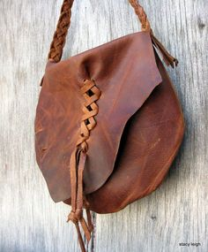 Distressed Cognac Brown Leather Haversack Bag by by stacyleigh, $85.00