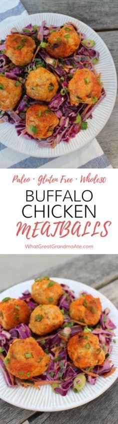 Paleo Gluten Free Whole30 Buffalo Chicken Meatballs
