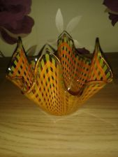 VINTAGE RETRO CHANCE GLASS ORANGE HANKERCHEIF BOWL / DISH.