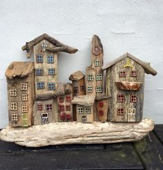 ) to driftwood add tim holtz village windows & doors (balsa wood?) to driftwood Wood Projects For Kids, Woodworking Projects For Kids, Diy Projects, Beach Crafts, Home Crafts, Diy And Crafts, Driftwood Projects, Driftwood Art, Driftwood Ideas