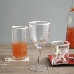 White Banded Acrylic Glassware Set #WestElm