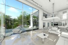 The floor to ceiling windows of this stunning villa create a feeling you are in the nature #villa #luxury #sale #marbella #property #dream #homes #white #interior #contemporary