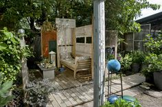 Outdoor living room from salvage - created by Richard Rolfe and Stephen Rutledge. LOVE it!