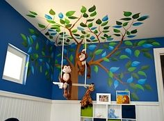 baby nursery wall mural and swing.. Minus the monkeys.