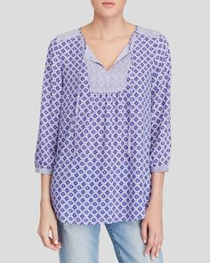 Nydj Diamond Print Tie Front Top