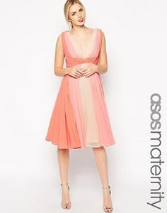 ASOS Maternity Skater Dress in Ombre Color Block