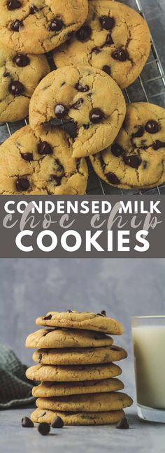 Condensed Milk Chocolate Chip Cookies Incredibly thick soft and chewy cookies that are made with sweetened condensed milk and stuffed full of chocolate chips! - Milk - Ideas of Milk Milk Chocolate Chip Cookies, Chocolate Chips, Homemade Desserts, Dessert Recipes, Condensed Milk Cookies, Condensed Milk Biscuits, Condensed Milk Uses, Condensed Milk Desserts, Crack Crackers