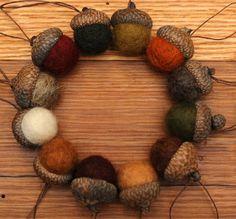Felted Wool Acorns, Set of 12 Fall colors