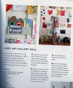 DIY Kid's Art Gallery Wall. Source: A Beautiful Mess Happy Homemade Home by Elsie Larson & Emma Chapman, photography by Jenny Kraemer