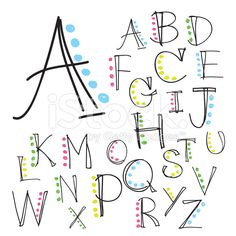 Black colorful alphabet uppercase letters.Hand drawn written royalty-free stock vector art