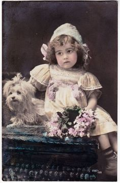 Antique RPPC - Cute Edwardian Bonnet Girl w/ tiny Maltese DOG, posted 1912