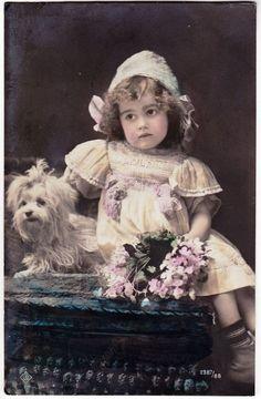 Antique RPPC - Cute Edwardian Bonnet Girl w/ tiny Maltese DOG, posted 1912