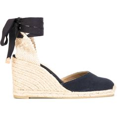Castañer Carina espadrilles (2,905 THB) ❤ liked on Polyvore featuring shoes, sandals, blue, real leather shoes, blue leather sandals, castaner shoes, leather espadrilles and espadrille sandals
