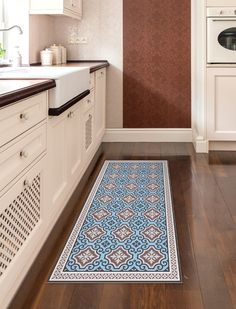 Blue Kitchen Rug With Tiles, Printed On Vinyl. Easy To Clean And Water  Resistant