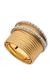 Brumani: white and yellow gold ring with diamonds