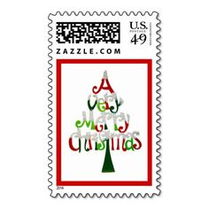 A Very Merry Christmas Tree Postage Stamp