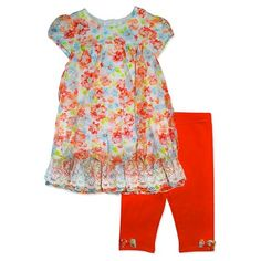 Baby Grand Signature™ Baby Girls' Lace Fashion Top & Capri Legging Set - Coral : Target
