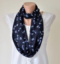Dragonfly Printed Circle Infinity Scarf Dark Blue Lightweight Fashion Scarves, Gift Ideas for Her