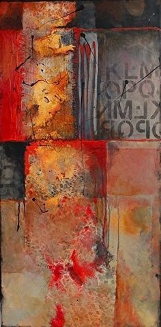 "CAROL NELSON FINE ART BLOG: Abstract Mixed Media Art Painting ""Red Beneath 14023"" by Colorado Mixed Media Abstract Artist Carol Nelson"