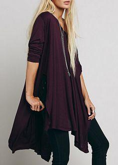 Long Sleeve Scoop Neck Purple T Shirt