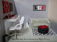 Custom order - 1:6th Scale office ~ Miniatures from Avalon Imagination by Ronda Vallejo