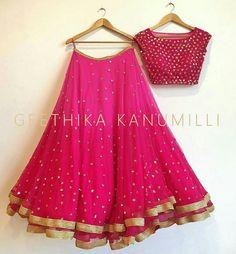 Buy Salwar Soul Letest Pink Embroidary Work Lehenga Choli Online @ from ShopClues Lehenga Choli Designs, Indian Lehenga, Half Saree Designs, Blouse Designs, Lehenga Designs Simple, Indian Attire, Indian Wear, Indian Dresses, Indian Outfits