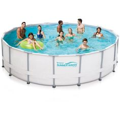 Summer Waves Elite 16' x 48 inch Round Premium Metal Frame Above Ground Swimming Pool with Deluxe Accessory Set, Blue