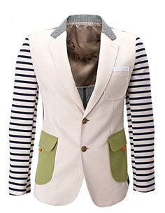 FLATSEVEN Mens Two Button Striped Sleeve Pattern Contrast Casual Blazer Jacket (BJ459) Beige, Boys L FLATSEVEN http://www.amazon.com/dp/B00L2291I2/ref=cm_sw_r_pi_dp_0Jg2ub0TT8APS #FLATSEVEN Sleeve #Casual #Blazer #sriped #men  #Fashion
