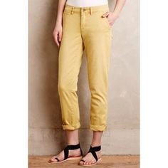 Anthropologie Pilcro Cargos Yellow color. The color is better displayed from the modeled photo. These are in perfect condition! They were worn but with care and love! Very true to size. I am a 25/26 in jeans. Perfect for a spring or summer outing! Anthropologie Pants Trousers