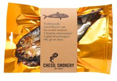 Chesil Smokery Smoked Mackerel by big fish® Vacuum Packaging, Cake Packaging, Packaging Stickers, Food Packaging Design, Packaging Design Inspiration, Brand Packaging, Product Packaging, Branding Design, Secondary Packaging
