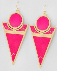 Pink Lipstick Gold and Neon Pink Statement Earrings-$24-Find hot fashion jewellery and statement jewlry at Strike Envy. #jewellery #jewlry