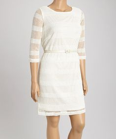 Look at this #zulilyfind! Ivory Sheer Stripe Three-Quarter Sleeve Dress - Plus by Sharagano #zulilyfinds