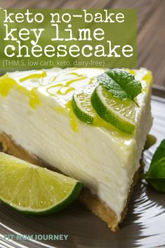 keto dessert I've got a craving for Low Carb Key Lime Pie Cheesecake. This simple no-bake recipe is sugar-free, grain-free, high fat, a THM:S fuel, and comes together without even turning Key Lime Pie Cheesecake, Keto No Bake Cheesecake, Keto Cake, Cheesecake Recipes, Cheesecake Frosting, Cheesecake Tarts, Strawberry Cheesecake, Pumpkin Cheesecake, Keto Desserts