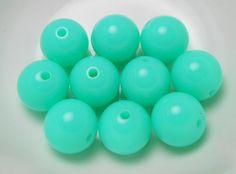 10 Neon Aqua GUMBALL Beads 20mm Acrylic Bubble Gum Chunky Round Bubblegum (H120)
