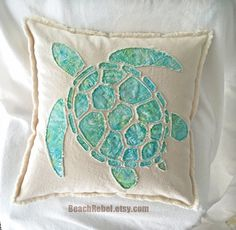 Sea turtle applique pillow cover in aqua leaf batik and natural unbleached distressed denim boho pillow cover 20""