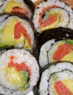 Easy Sushi Roll * Tip, buy the sticky rice from a Japanese restaurant if you don't have a rice maker or the time.