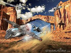 Several F15 fighter planes and several UFO fighting over a rocky desert.