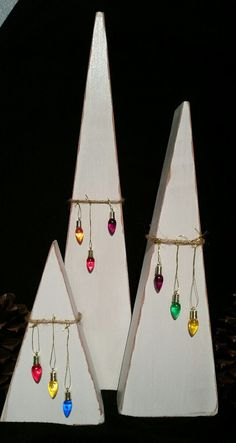 Primitive Christmas Trees set of 3 adorned by BrumbleBerryBoutique