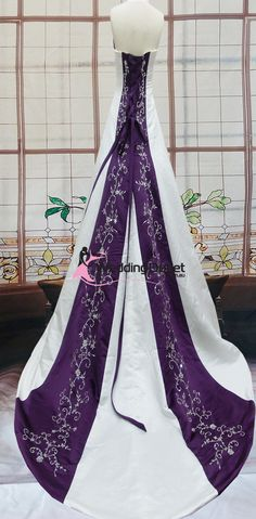 purple and white wedding dress
