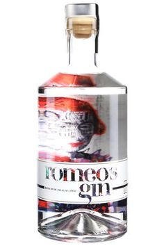 "Through a partnership with local Montreal artists, each edition of Romeo's Gin will feature art from a different artist. If each edition seems ""fresh"" visually, that's perha… Gin Cocktail Recipes, Whiskey Cocktails, Gin Bottles, Vodka Bottle, Le Gin, Peach Drinks, St Patricks Day Drinks, London Gin, Bebe"