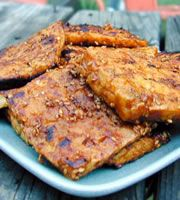 Barbecue Tofu, marinated in lemon and orange juice.