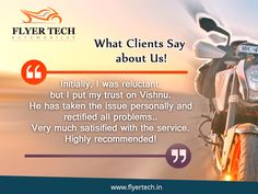 Thanks for the feedback sir! This means a lot to us at FlyerTech  🙂 https://goo.gl/Z5Diqz #BikeService