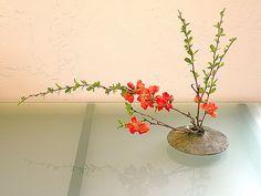large lens vase with ikebana flower arrangement by Karyn Gabaldon